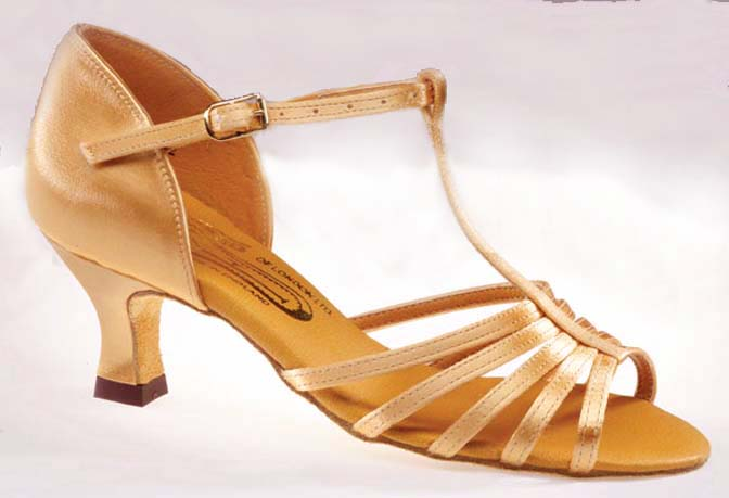Latin női tánccipő 2´´ 5.5cm barokk sarokkal: Freed of London Tina model - TAN SATIN