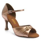 Freed of London Leona latin dance shoes - DARK TAN SATIN