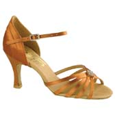 Freed of London Lois latin dance shoes - DARK TAN SATIN